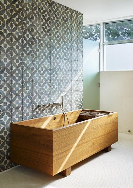 Bold Modern Bathroom   House & HomeIdeas, Modern Bathroom Design, Wood, Features Wall, Bathtubs, Interiors Design, Wall Tile, Cement Tile, Modern Bathrooms