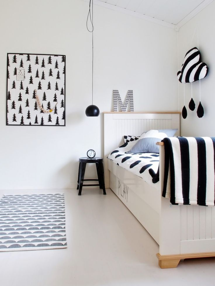 Black and white bedroom. Kid. Child. Room. Stripes. Modern. Contemporary. Design. Decor. Interiors.
