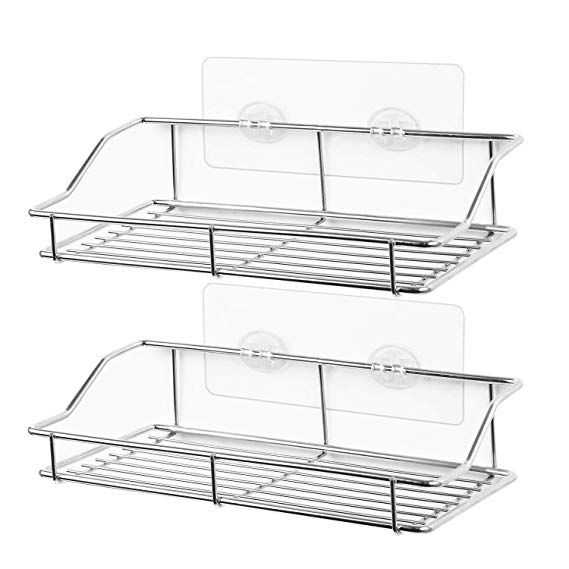 Smartake 2 Pack Bathroom Shelf Wall Mounted Shower Caddy Traceless Adhesive No Drilling Storage Organizer Rack S Bathroom Shelves Shower Caddy Room Shelves