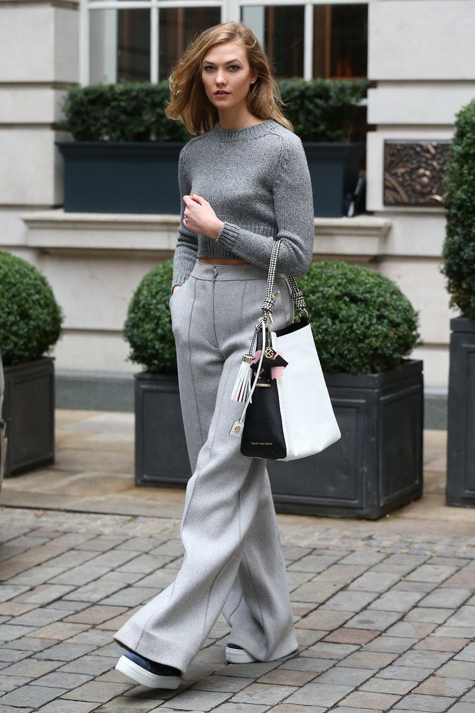 Karlie Kloss stepped out in a monochrome outfit with wide-leg pants.
