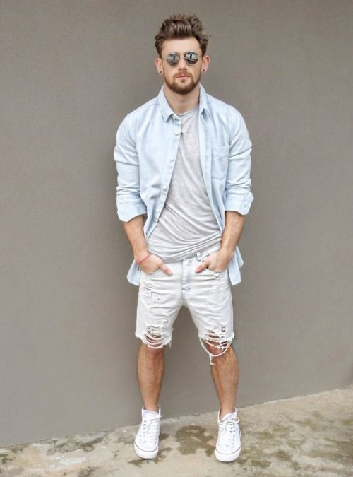 Men's Light Blue Denim Shirt, Grey Crew-neck T-shirt, White Denim Shorts, White…
