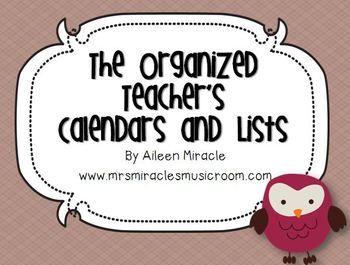 The Organized Teacher's Calendars and Lists {Owl-Themed}
