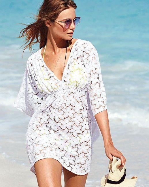 Kostenloserversand 2014 neue Sommer strand badehosen schnürung ups pareo tunika-kleid weiße farbe