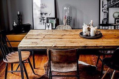 Tisch-Alt-Holz-Esstisch-Bohlen-Industrie-Design-Eames-Herman-Miller-Bauhaus (Diy Furniture Modern)