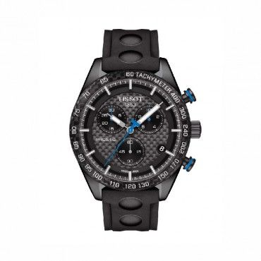 T1004173720100 Ανδρικό quartz ρολόι χρονογράφος TISSOT PRS 516 με μαύρο καουτσούκ και μαύρο καντράν | Ρολόγια TISSOT ΤΣΑΛΔΑΡΗΣ αντιπρόσωπος στο Χαλάνδρι