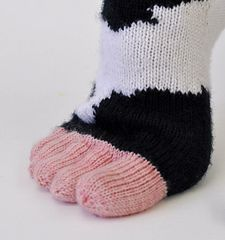 Cowasocky is a cuff-down, heel-flap & gusset, intarsia-in-the-round sock with a 5-toed udder.