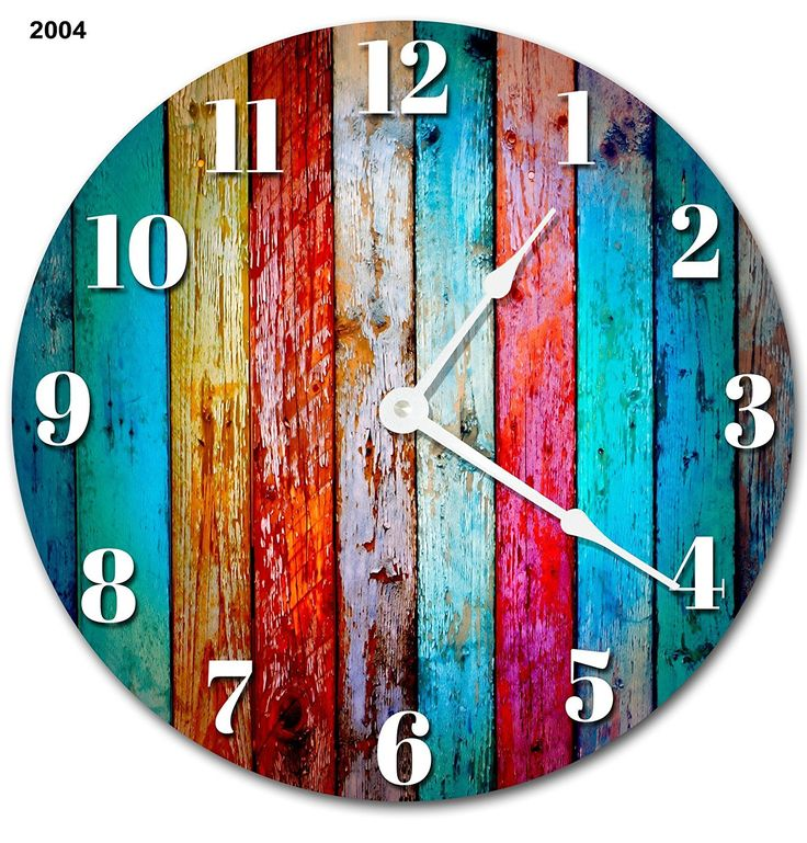 Large 10.5' Wall Clock Decorative Round Wall Clock Home Decor Novelty Clock WORN COLORED WOOD BOARDS RUSTIC CLOCK ** Be sure to check out this awesome product. (This is an affiliate link and I receive a commission for the sales)