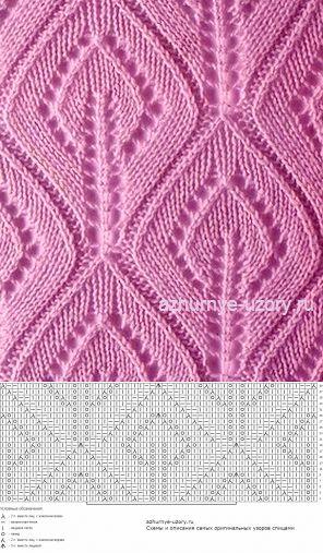 Листья ажурные спицами | Ажурные Узоры