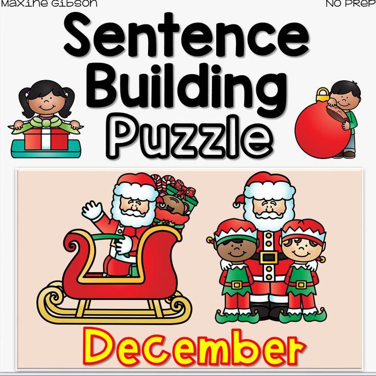 Sentence Building Puzzle December Kindergarten