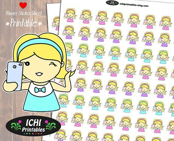 Selfie Printable Planner Stickers, Selfie Planner Stickers, Take A Selfie, Photography, Camera, Blonde Girl, Kawaii, Functional Stickers by Ichiprintables