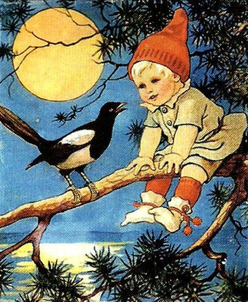 Boy Sitting On A Pine Branch, Jenny Nystrom (1854 – 1946, Swedish) - the bird is a Magpie!