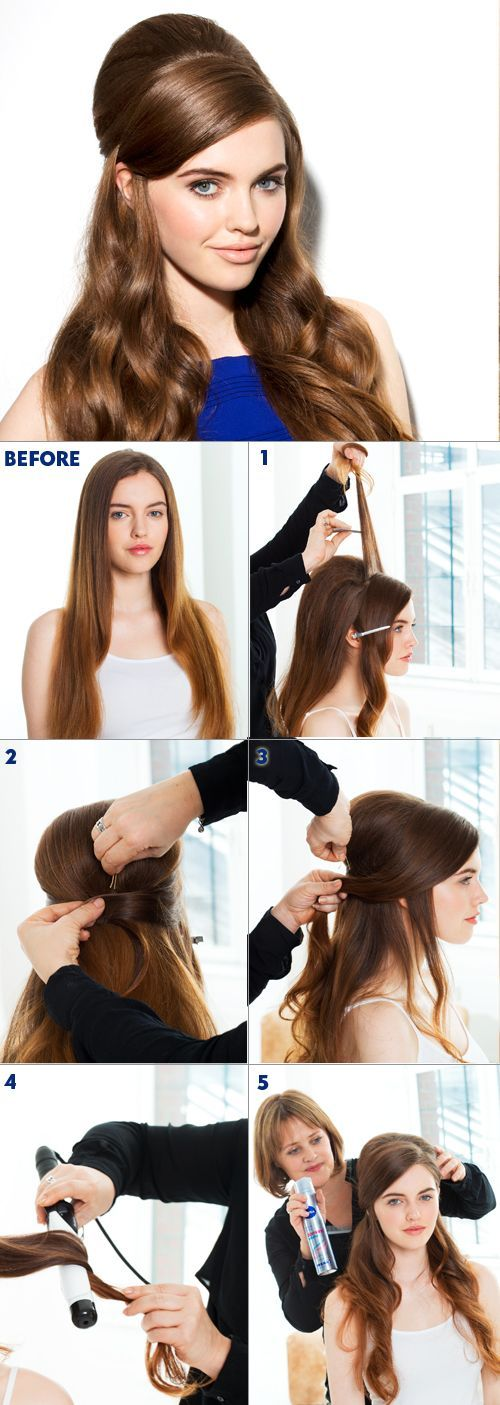 1. Section the front of the hair out of the way and secure with a clip. 2. Tease the back of the hair from below the crown all the way to the front to create a 60's shape through the top. 3. Smooth the front of the hair back using a natural bristle brush for shine. Pin the hair underneath the crown area to emphasize the volume. 4. Tong the remaining hair on a large-barrelled tong to give a tousled wave. 5. Finish the look with hairspray.