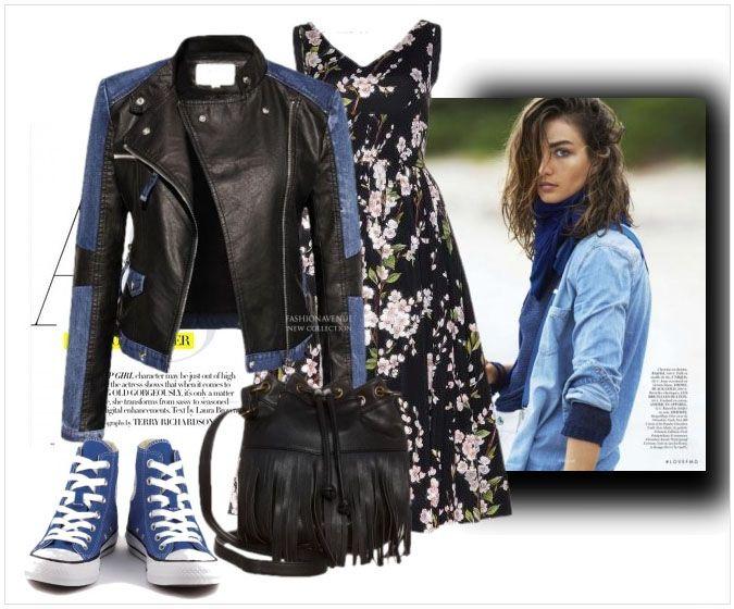 fashionavenue.pl  stylizacja kurtka damska ramoneska skóra + jeans na wiosnę i lato najmodniejsza model #101