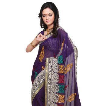 Purple Faux Chiffon Jacquard Saree With Blouse