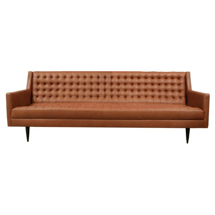 Toffee Brown Leather U0026 Ebonized Walnut Sofa