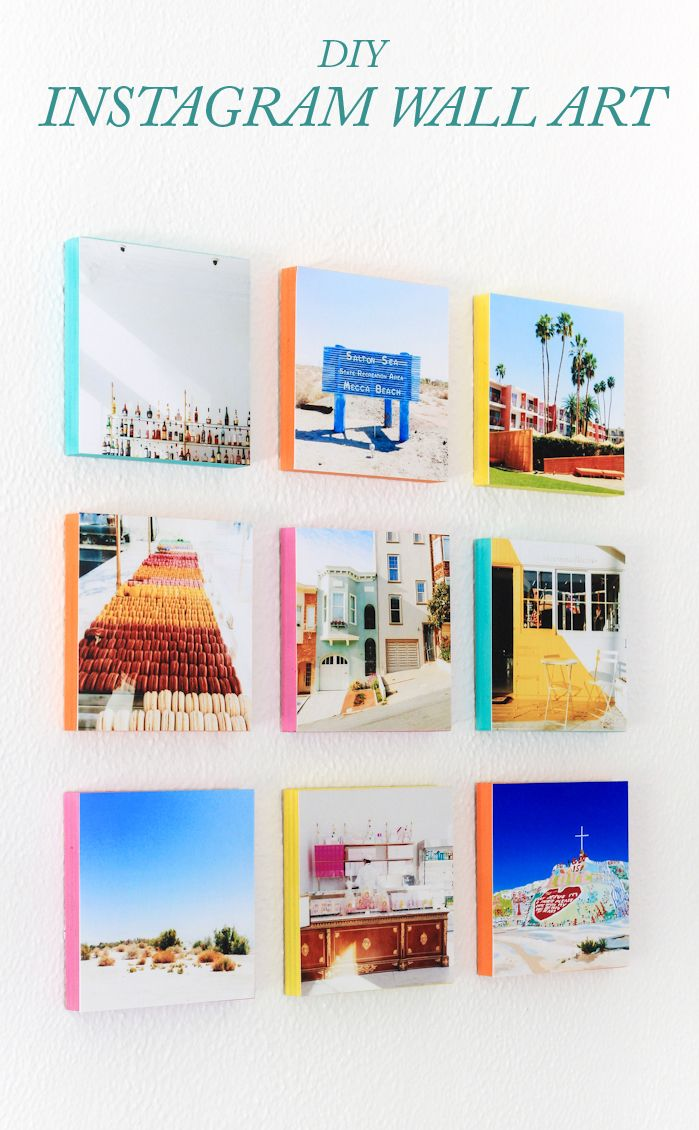 DIY instagram wall art with colorful edges