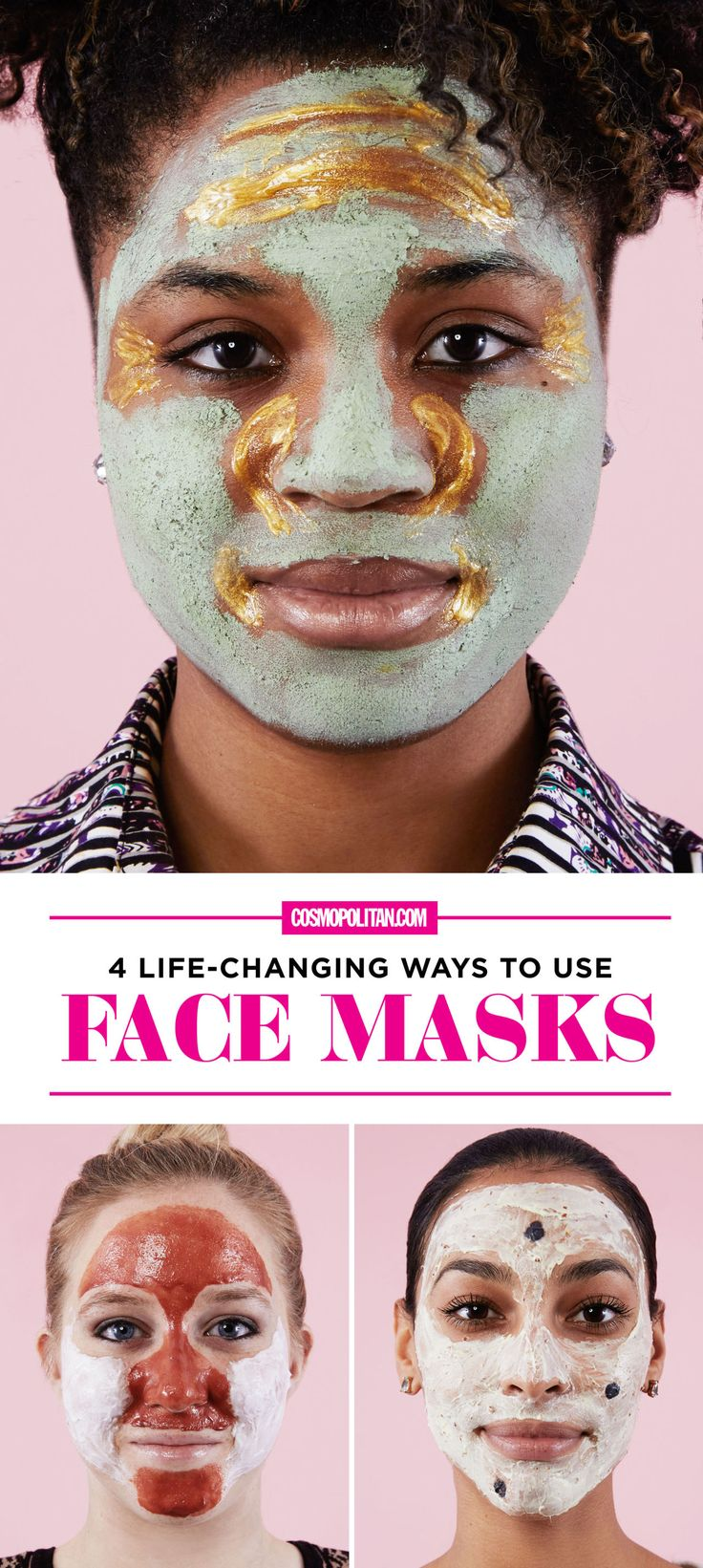 FACE MASK COMBINATIONS: You don't have to use just one face mask at a time, you can use these combinations to address all your skin problems at once! Click through for face mask tutorials that address breakouts and irritation, oily skin and large pores, dullness and fine lines, and an oily t-zone and dry cheeks. Find all the instructions and expert tips from Cosmo's beauty director here!