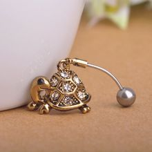Brand Turtle Small Animal Belly Button Ring Cute Women Steampunk Body Piercing Jewelry Stainless Steel Crystal Dangle Navel Ring(China (Mainland))