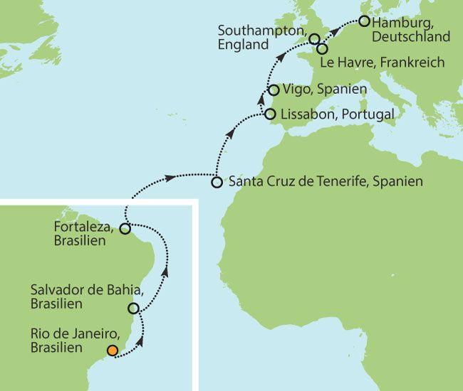 Mit der MSC Fantasia von Brasilien nach Deutschland - 21 Tage Vollpension nur € 1799 inkl. Flüge!