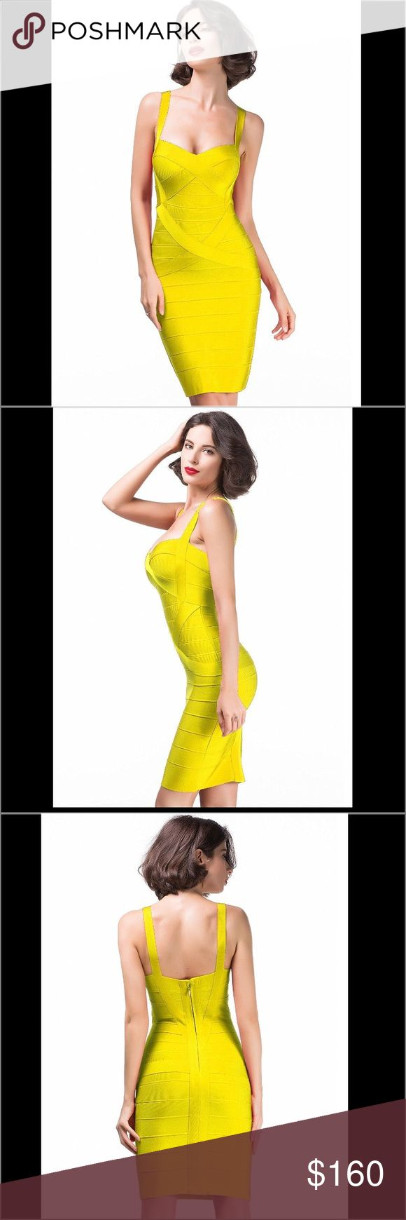 Yellow heavyweight bandage dress Turn up the heat in this ultra-flattering Deep V Neck Bandage Dress. This gold bandage dress designed to sculpt a gorgeous hourglass figure and featuring a sexy cut out deep v neck with zip fastening to rear.  Center back zipper with hook-and-eye closure. Fabric: 90% Rayon + 9% Nylon + 1% Spandex Anti-wrinkle. High quality heavyweight bandage. Durable and reliable zippers. High elasticity for a better fit. Delicate sewing and hemming by durable needle…