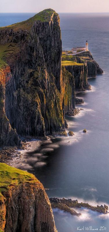 Neist Point is one of the most famous lighthouses in Scotland and can be found on the most westerly tip of Skye near the township of Glendale. While the walk down is an easy one, the concrete path does get quite steep at times. From the path you will see