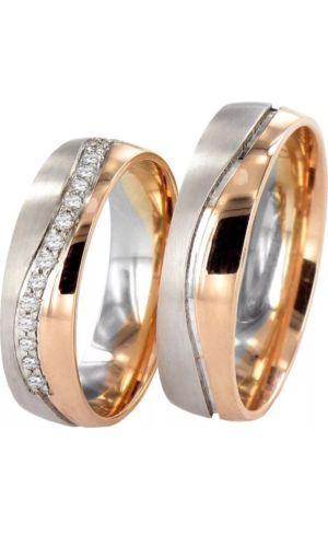 2x585 GOLD Trauringe PAARPREIS Eheringe Paarringe Rotgold Weissgold.INKL Steine in Uhren & Schmuck, Hochzeitsschmuck, Trauringe | eBay