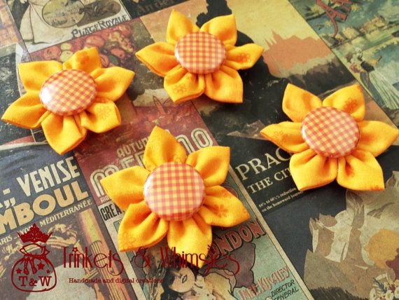 Pumpkin Pie Fabric Kanzashi Flowers by TrinketsAndWhimsies on Etsy, $1.45