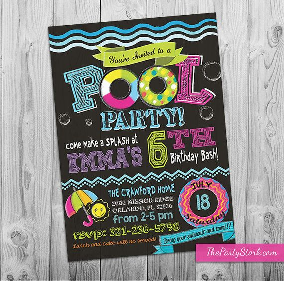 Swimming Pool Party Invitation by The Party Stork. Printable DIY Girl Pool Party Invite. Chalkboard Style. YOU print your birthday invitations.