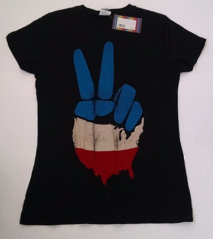American Flag Peace Sign Fingers No Star is Good T-shirt Womens M Black New #NoStarisGood #GraphicTee