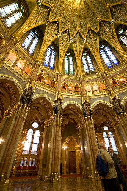 Hungarian Parliament, Budapest / architecture / indoor spaces / interior room designs / staircase / stairway / stairs