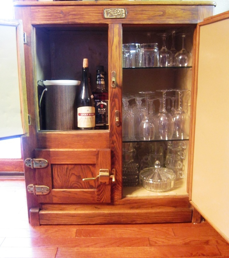Old Ice Box Made Into A Bar Kindred Style Pinterest