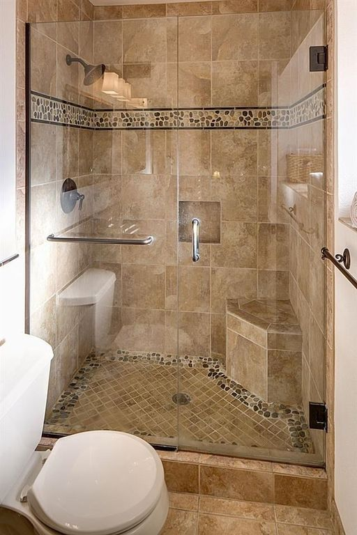 Traditional 3/4 Bathroom with Islander Sienna Mosaic 12 in. x 12 in. Natural Pebble Stone Floor and Wall Tile