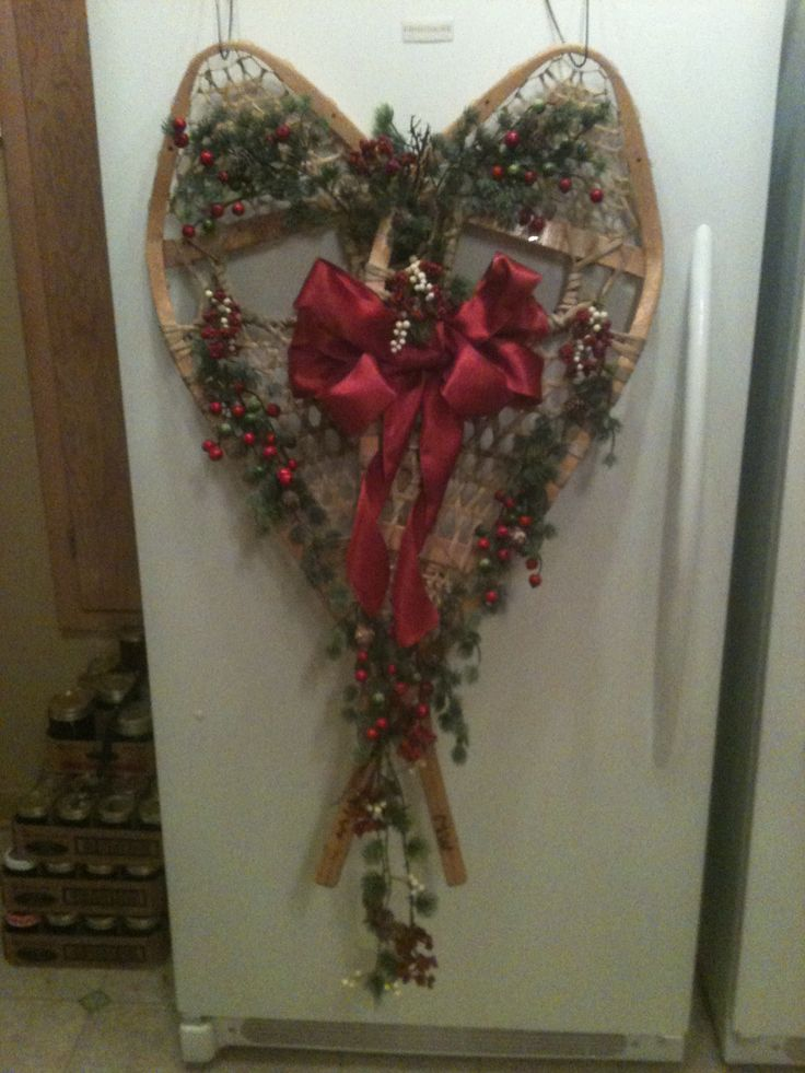 Snowshoes decorated for Christmas that we made