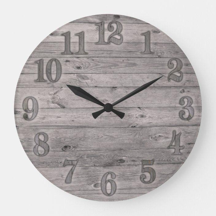 Driftwood Background Large Clock Zazzle Com Clock Large Clock Diy Clock Wall