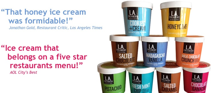 L.A. Creamery Artisan Ice Cream : We treat ice cream as an art form! all over LA - Unami Burger etc.