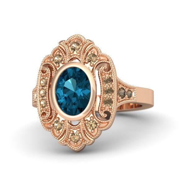 Oval London Blue Topaz 14K Rose Gold Ring with Smoky Quartz   Arya Ring