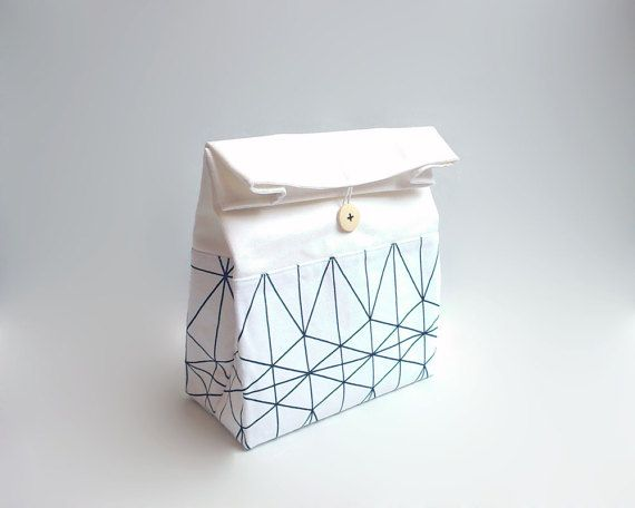 Lunch bag with handle / Modern lunch bag / Geometric lunch bag / Black and white lunch bag / Sac déjeuner / Sac a lunch
