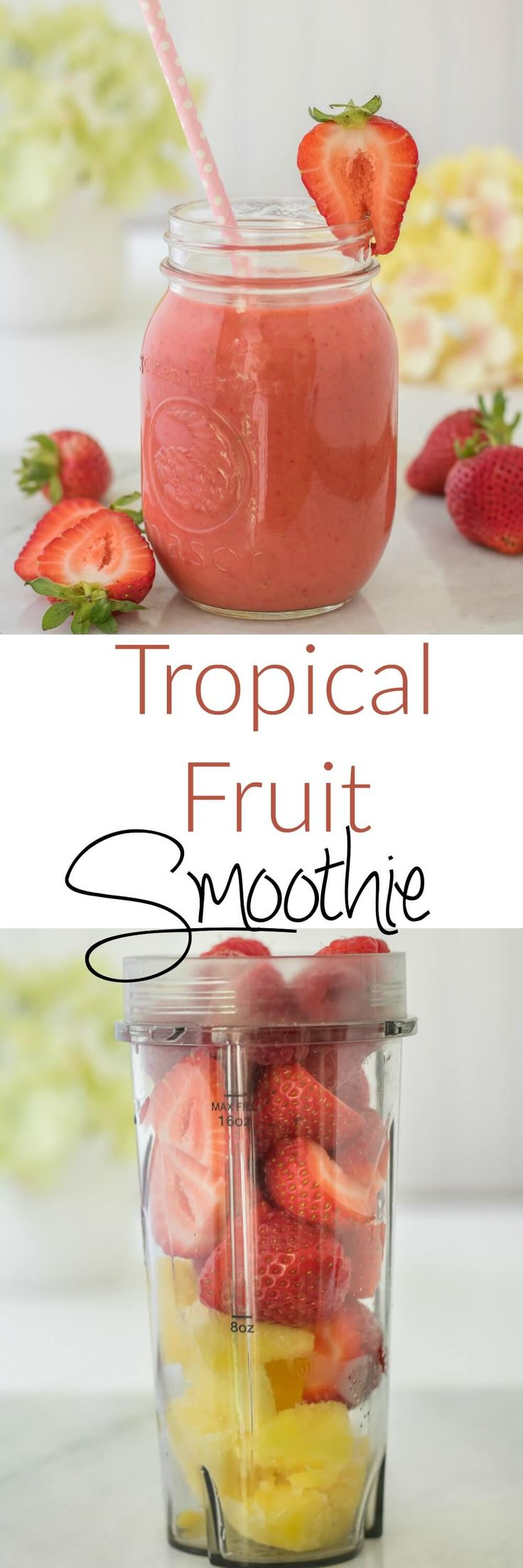A blend of tropical fruits makes a refreshing fruit smoothie. This Tropical Fruit Smoothie is a healthy treat that you and your kids can enjoy without any guilt and help get in your fruit intake!