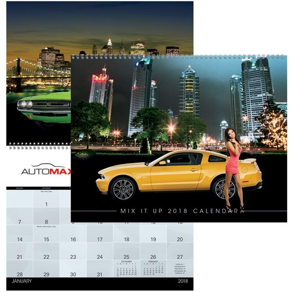 """Opulent Promotional Items Company from Brooklyn NY USA. Calendar. You get to choose! Each monthly image is created as you choose from our stock backgrounds, vehicles and girls. If you prefer to have backgrounds and vehicles only, that's fine too. Create your own calendar from our stock backgrounds. Top markets: automotive, retail, insurance. Dimensions: 11"""" w x 8 1/2"""" h closed; 11"""" w x 17"""" h open. Download the spread sheet from this page to pro..."""