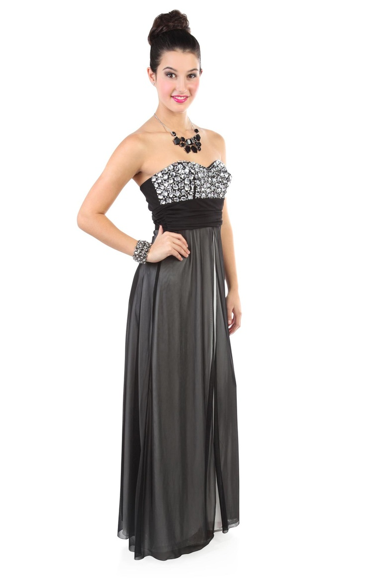 Deb Shops two tone chunky stone accented #prom #dress with long flyaway skirt