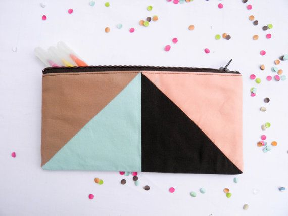 zipper pouch 4X8  geometry  pencil case in camel by Pamplemouss
