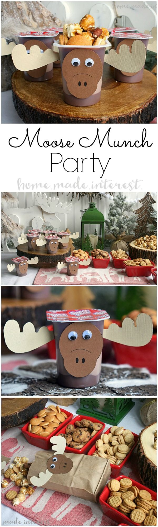 "This Moose Munch Holiday Party is such a fun theme for a holiday party where kids and adults can have a good time. Make your own Moose munch and load up your chocolate ""moose"" then dig in! We've even got a few moose printables to get you started. #SnackPackMixIns #CollectiveBias #ad"