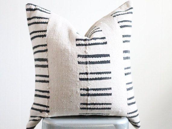 20x20 Vintage Mali West African Mudcloth Textile Black/Cream Stripe Boho Pillow Cover