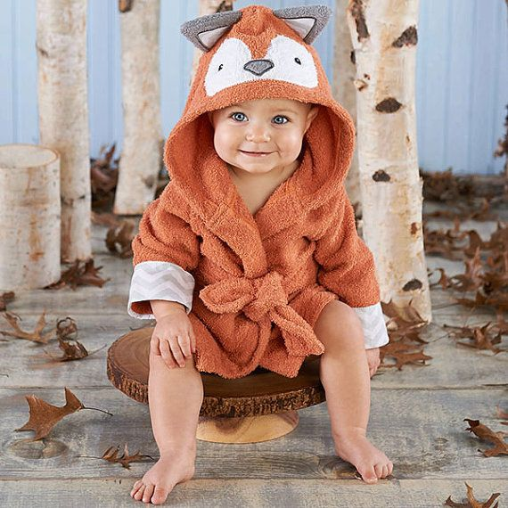 Personalized fox robe for baby