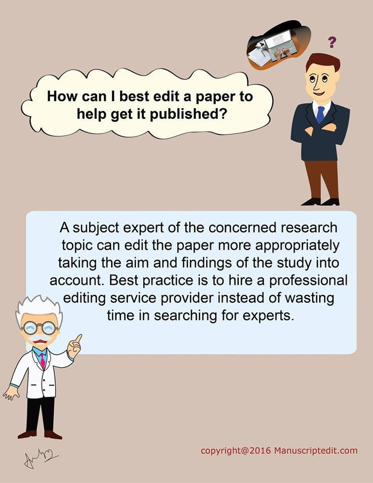 #Manuscriptedit @ How can I best edit a #paper to help get it published?   A subject expert of the concerned #research topic can edit the paper more appropriately taking the aim and findings of the study into account. Best practice is to hire a professional #editing service provider instead of wasting time in searching for experts.  #Manuscriptedit #publication : http://bit.ly/1NvtPEX