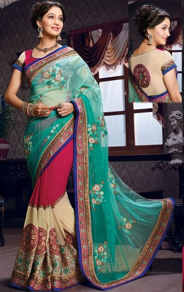 Picture of Royal Blue and Pink Designer Saree
