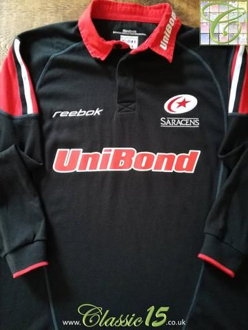 Official Reebok Saracens home long sleeve rugby shirt from the 2002/2003 season.