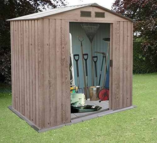 Billyoh Partner Woodgrain Metal Garden Shed Apex Roof Large Outdoor Storage  Shed