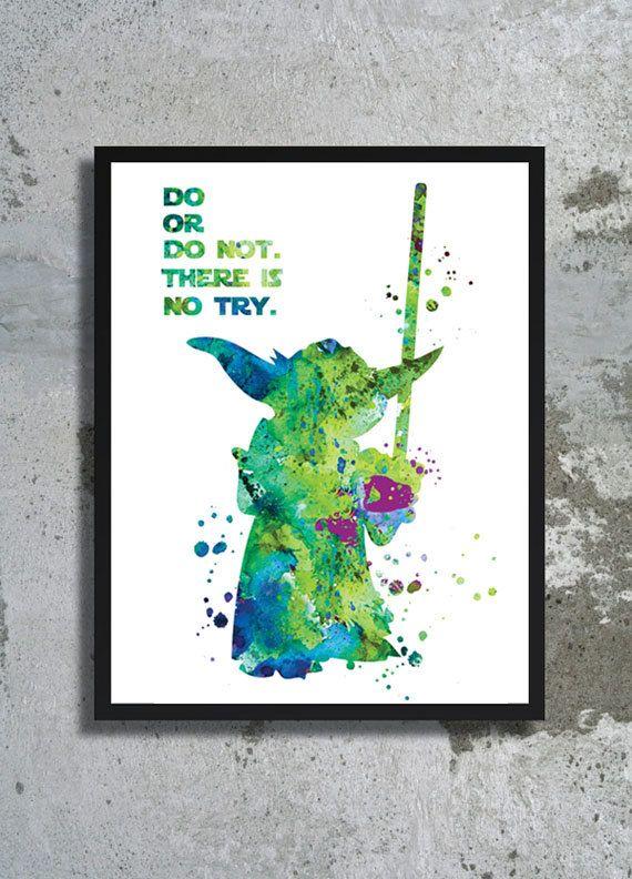 Yoda Star Wars Watercolor Art Print Master Yoda Quote Jedi Poster Star Wars art Yoda wall print Star wars poster movie children  boy room