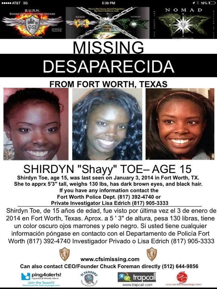 Missing 15 Year Old Girl Found: Missing Over One Month! Let's Bring Her Home!! Shirdyn Toe